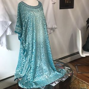 Dresses & Skirts - Turquoise  and silver chiffon Kaftan dress set